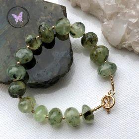 Gold Prehnite Natural Nugget Healing Bracelet